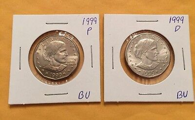 1999 P and D Susan B Anthony Brilliant Uncirculated Dollar set