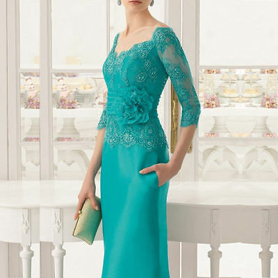 Sheath Mother Of The Bride Dress 3/4 Sleeve Floor Length Wedding Formal Outfits