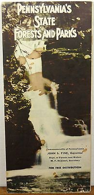 1950's Pennsylvania State Parks Forests brochure with illustrated map b