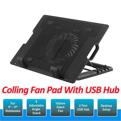 OZ For Laptop Notebook Cooler Cooling Stand USB Fan Pad with USB Hub