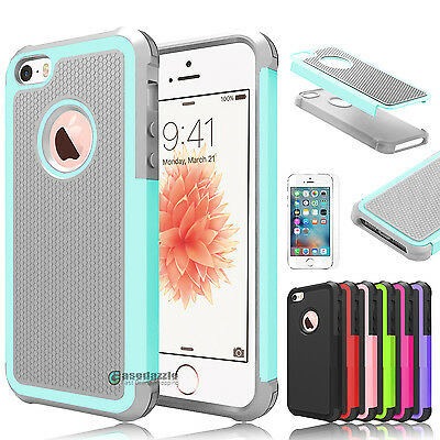 Shockproof Hybrid Rugged Rubber Hard Armor Case Cover for Apple iPhone 5 5s SE