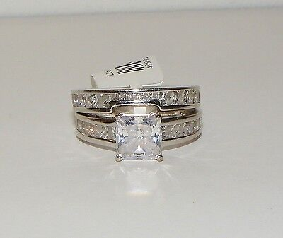 14k White Gold Princess Cut Clear Stone Engagement Wedder Bridal Ring Set 499929