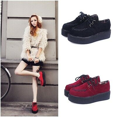 Ladies Womens Platform Lace Up Flats Creepers Punk Goth Autumn Comfortable Shoes