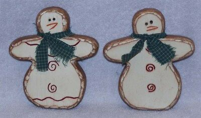 Set Of Two Primitive Wood Snowmen - Wonderful Christmas Decoration! Must See!