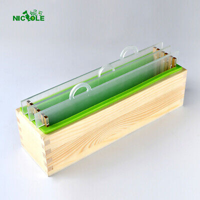 Nicole Silicone Render Cold Process Soap Mold Set Rectangle Loaf Mould with Wood