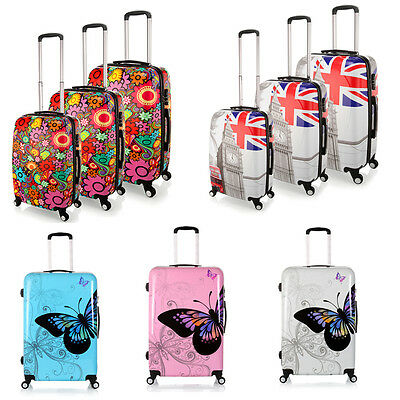 "20""- 28"" Luggage Travel Suitcase Flower/Butterfly Case Wheels Rolling PC Trolley"