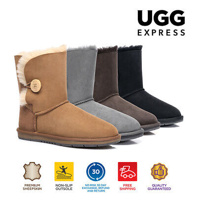 UGG Boots - Premium Australian Sheepskin, Short Button, Water Resistant