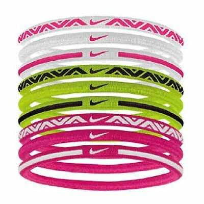 NIKE Elastic Hairbands 9PK 2.0 / One Size ,  White x Pink x Green