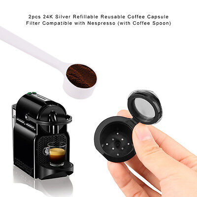 Top Quality 2pcs Refillable-Reusable-Coffee-Capsules-Pod-for-Nespresso+Spoon