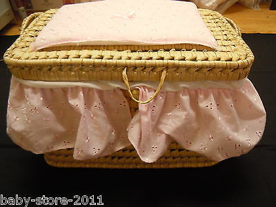 Baby  Wicker  Bounty  Basket  With  Lid  And  Handle   Broderie  Anglaise Drapes