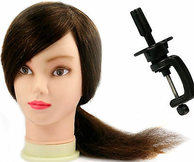 100% Real Human Hair Hairdressing Training Practice Head Mannequin Salon + Clamp