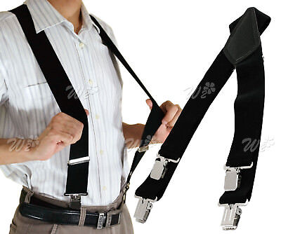 Heavy Duty Unisex Plain Braces Black Suspender Elastic Wide Durable Trouser 50mm