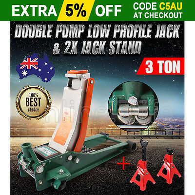 New 3 Ton Lift Hydraulic Jack Trolley Low Profile Double Pump + 2X 3T Jack Stand