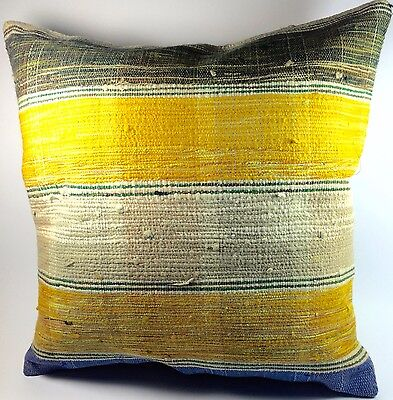 turkish kilim pillow cover 17X17, vintage pillow cover in yellow