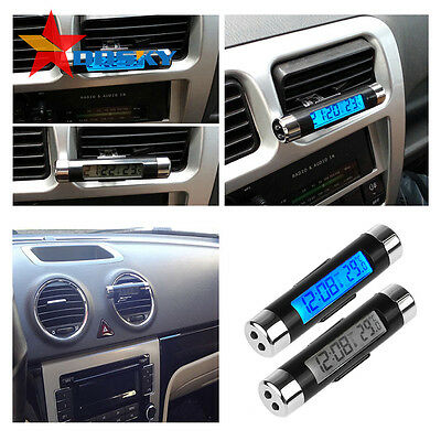 Auto Air Vent Dashboard Digital LCD Blue Backlight Thermometer Clock Calendar