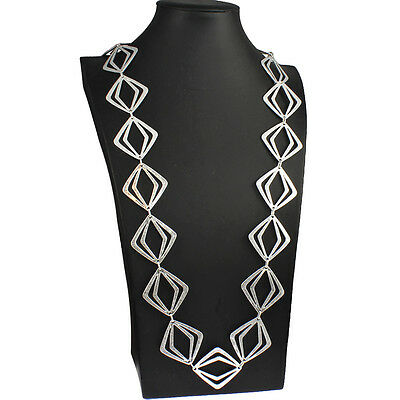 Stunning costume jewellery silver plated large abstract shape long necklace