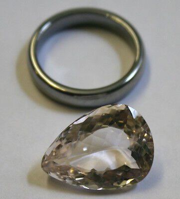 Exquisite Loose Morganite 11Ct Pink Emerald Gemstone 14X19Mm Faceted Pear Gem
