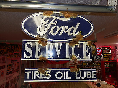 Old antique style Ford dealer service garage sign large 2 piece very nice!