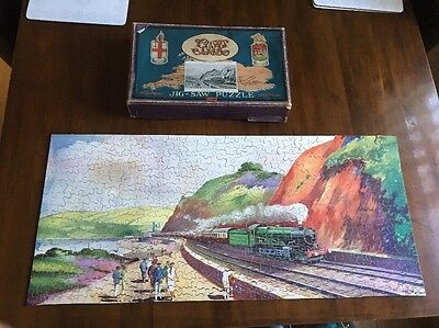 Vintage Wooden Jigsaw Puzzle - Gwr The Torbay Express Railway