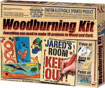 NSI Wood Burning Kit Crafts Woodworking Toys Arts For Kids And Teens Vintage Kit