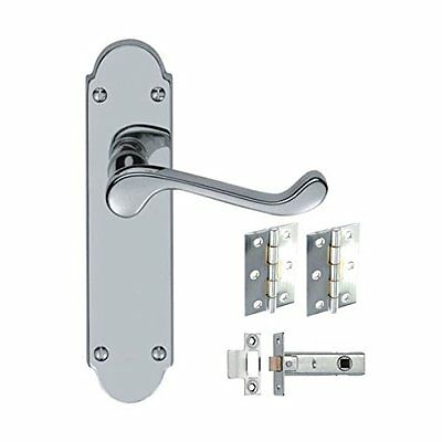 5 Sets Epsom Style Victorian Door Handles Hinges and Latches - Polished Chrome