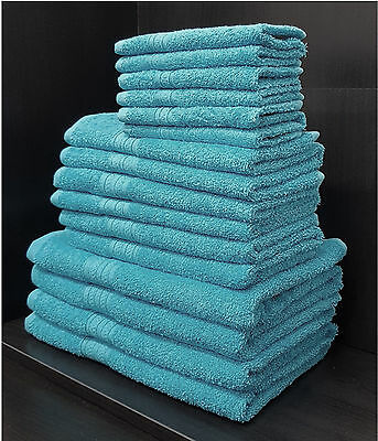 Pack of 10 100% Egyptian Towels Set Cotton Home Hotel Face Hand Bath Dark Teal