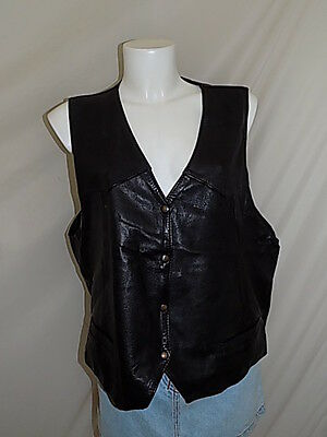 Smanicato Sleeveless Pelle Jacket Leather Donna Woman Xl  L3227