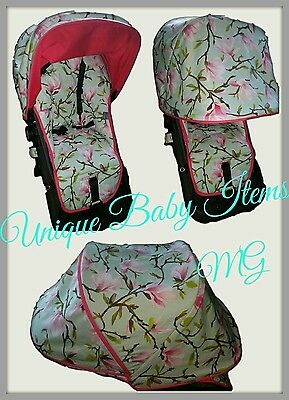 Bugaboo Cameleon 1 2 3 seat liner and extendable hood custom made floral pink