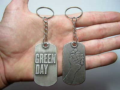 Green Day Rare doble sided Keychain Kayring Key Pendant Pewter Silver 015 FREE S