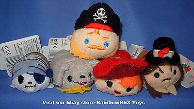 """Disney Parks PIRATES OF THE CARIBBEAN Tsum Tsum lot of 5,  3.5"""" size NEW"""