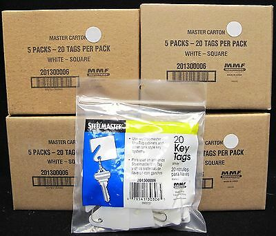 "LOT OF 400 SteelMaster Numbered Slotted Key Tags Plastic 1.5"" Square White"