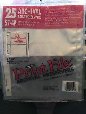 """57-4P Print File Archival Photo Pages Holds Four 5 x 7"""" Prints, Pack of 25"""