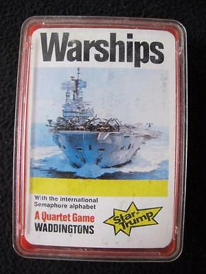 VINTAGE 1980's PACK of WADDINGTON TOP STAR TRUMPS QUARTET GAME CARDS - WARSHIPS