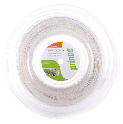 Prince Synthetic Gut Duraflex 1.25mm 17 Tennis Strings 200M Reel - White