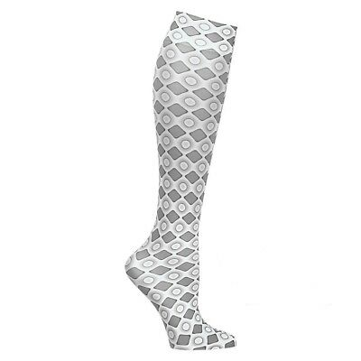Wide Calf Printed Moderate Compression Knee Highs Socks Hose - Grey Diamonds