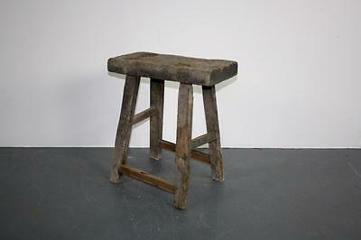 VINTAGE RUSTIC ANTIQUE WOODEN STOOL MILKING EXTRA LARGE No L142