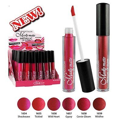 KLEANCOLOR Set of 6 Madly MATTE Metallic Lip Gloss Long Lasting LG1820SET NEW