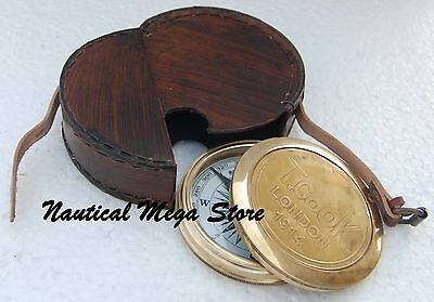 The Robert Frost Brass ~ Copper Poem Compass With Leather Case