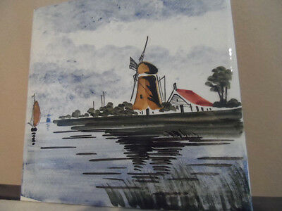 Windmill Tile Delft Holland Handpainted Tile Wall Hanging 6x6