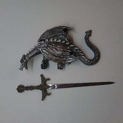 Wall Mounted Pewter-Like Dragon and Medieval Stainless Steel Sword Letter Opener
