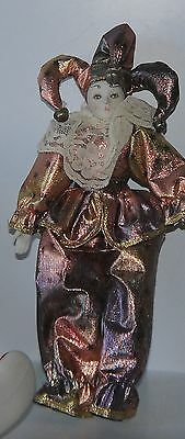 Shiny Clad Jester Clown Doll w/Stand Bells & Lace Accents Porcelain Face & Hands