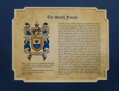 Family History Coat of Arms Certificate 1000's of names in our data base.