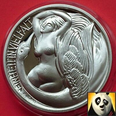 AUSTRIA Leda and the Swan Hallmarked 46.66g .925 Silver Proof Coin Medal +COA