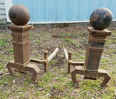 Antique Vintage Cannonball Type Fireplace Andirons