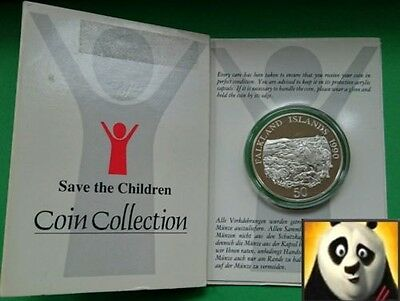 1990 FALKLAND ISLANDS 50p Save the Children Fund Silver Proof Coin + COA