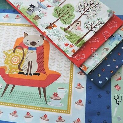 QUILT Makower Crafty Cats Paws Panel Labels Kitty Cats Pet Theme Kids Fabric