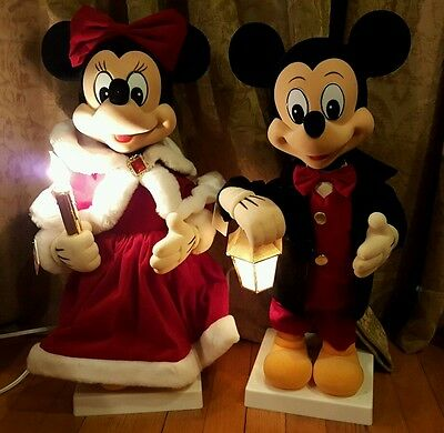Two Vintage Telco Disney Christmas Motionettes - Mickey Mouse & Minnie Mouse