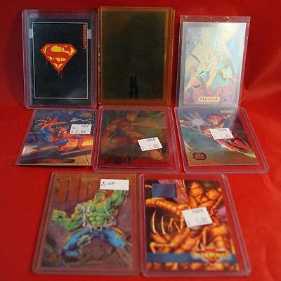 Lot of 8 Marvel DC Spiderman Hul Superman Holographic Trading Cards