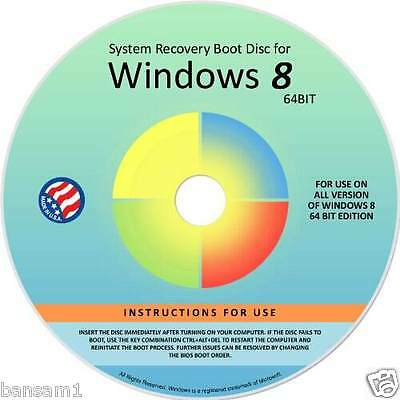 WINDOWS 8 8.1 OS System Restore Recovery Disc  for Windows 8