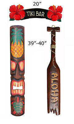 Tribal Tiki Bar Starter Package Deal Set of 3- Patio Tropical Decor 40""